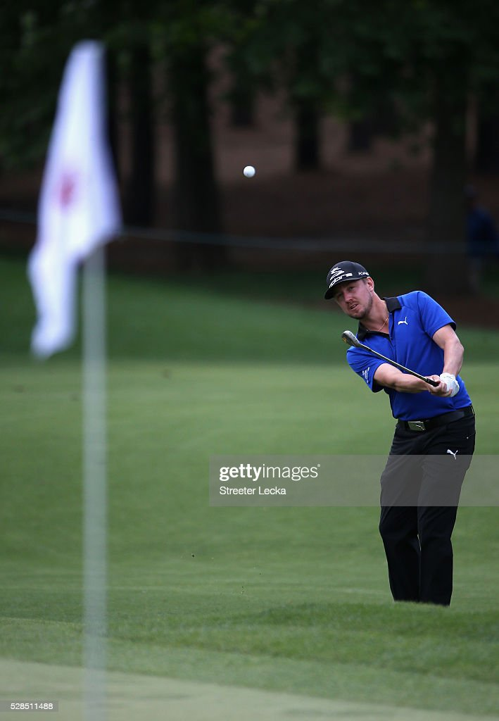 Jonas Blixt hits a shot on the fifth hole during the first round of the 2016 Wells Fargo Championship at Quail Hollow Club on May 5, 2016 in Charlotte, North Carolina.