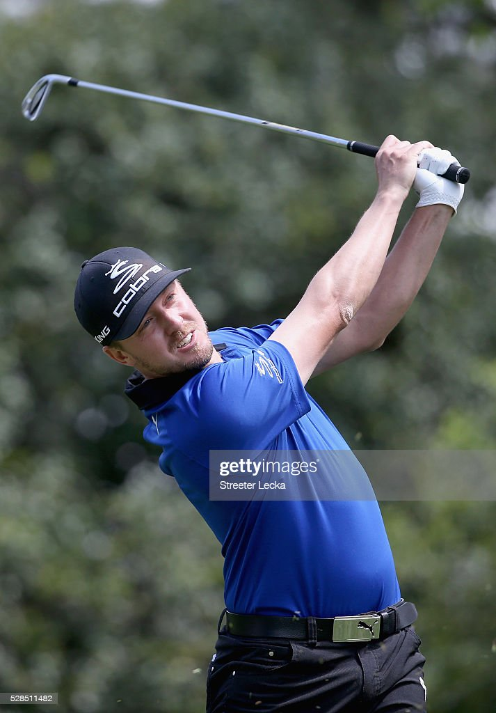 Jonas Blixt hits a tee shot on the sixth hole during the first round of the 2016 Wells Fargo Championship at Quail Hollow Club on May 5, 2016 in Charlotte, North Carolina.
