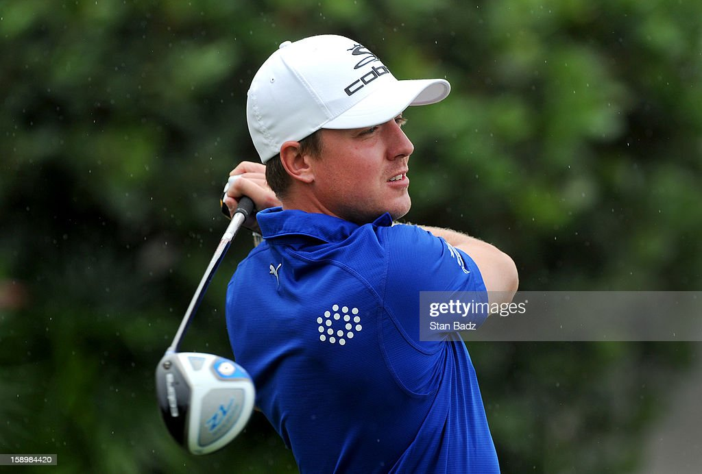 Jonas Blixt of Sweden hits a drive on the first hole during the first round of the Hyundai Tournament of Champions at Plantation Course at Kapalua on January 4, 2013 in Kapalua, Hawaii.
