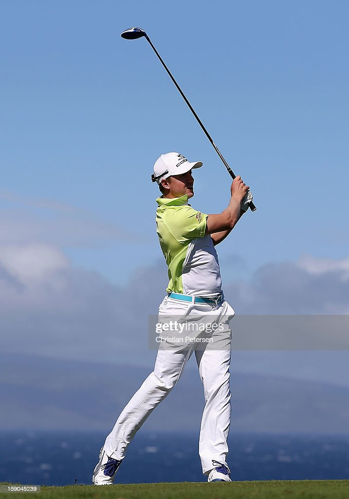 Jonas Blixt of Sweden hits a tee shot on the 10th hole during the replay of the first round of the Hyundai Tournament of Champions at the Plantation Course on January 6, 2013 in Kapalua, Hawaii.