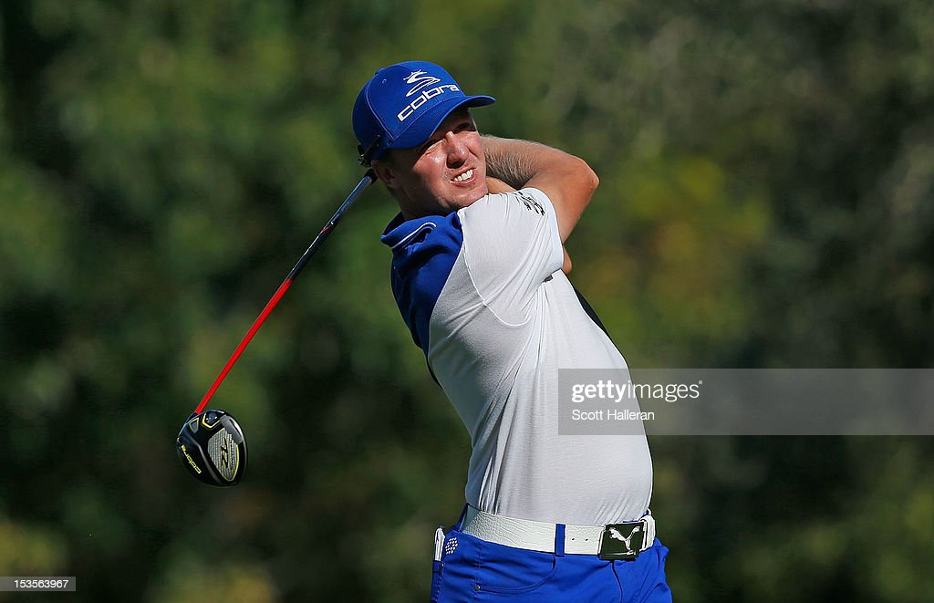 Jonas Blixt of Sweden hits his tee shot on the 16th hole during the third round of the Justin Timberlake Shriners Hospitals for Children Open at TPC Summerlin on October 6, 2012 in Las Vegas, Nevada.