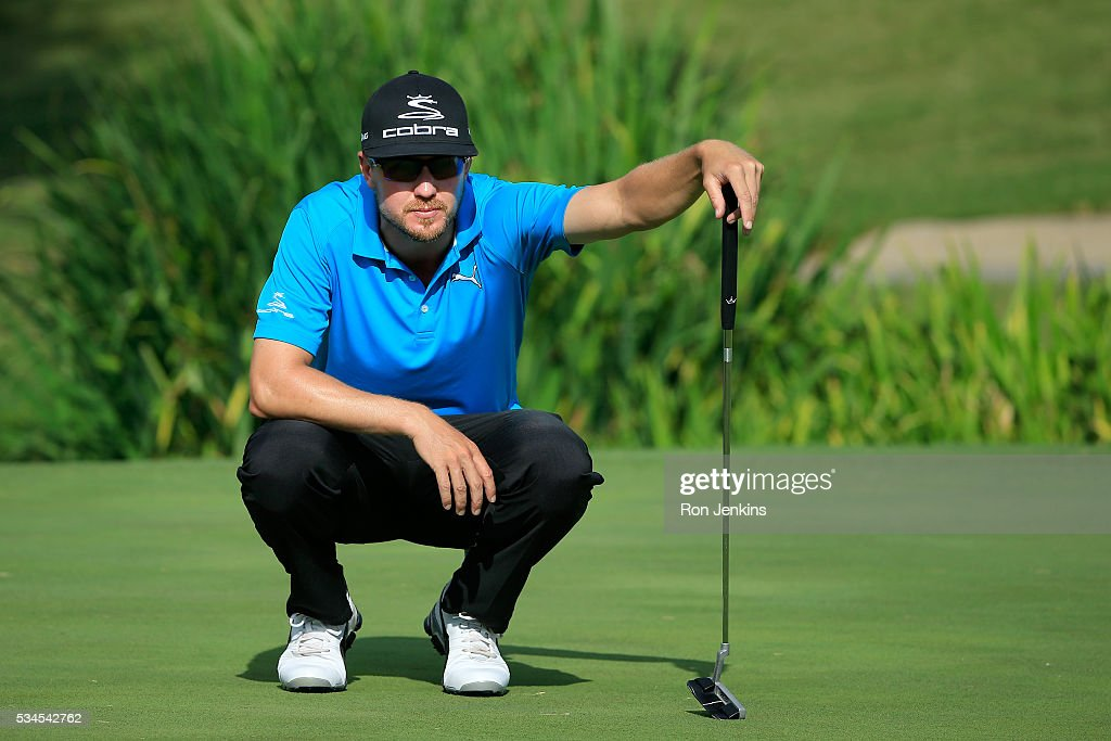 <a gi-track='captionPersonalityLinkClicked' href=/galleries/search?phrase=Jonas+Blixt&family=editorial&specificpeople=4387884 ng-click='$event.stopPropagation()'>Jonas Blixt</a> of Sweden lines up a putt on the ninth green during the First Round of the DEAN & DELUCA Invitational at Colonial Country Club on May 26, 2016 in Fort Worth, Texas.