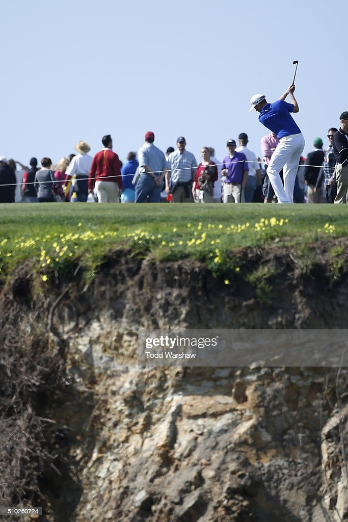 <a gi-track='captionPersonalityLinkClicked' href=/galleries/search?phrase=Jonas+Blixt&family=editorial&specificpeople=4387884 ng-click='$event.stopPropagation()'>Jonas Blixt</a> of Sweden plays a shot from the fairway on the eighth hole during the final round of the AT&T Pebble Beach National Pro-Am at the Pebble Beach Golf Links on February 14, 2016 in Pebble Beach, California.