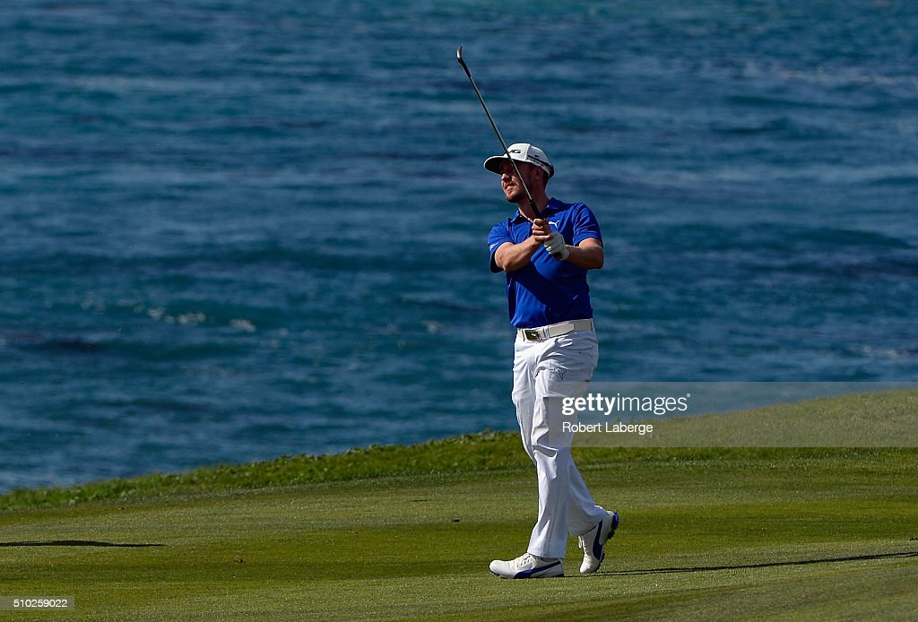 <a gi-track='captionPersonalityLinkClicked' href=/galleries/search?phrase=Jonas+Blixt&family=editorial&specificpeople=4387884 ng-click='$event.stopPropagation()'>Jonas Blixt</a> of Sweden plays a shot from the ninth fairway during the final round of the AT&T Pebble Beach National Pro-Am at the Pebble Beach Golf Links on February 14, 2016 in Pebble Beach, California.