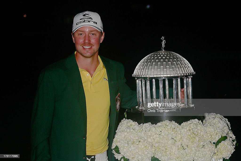 Jonas Blixt of Sweden poses with the trophy following his victory in the Greenbrier Classic at the Old White TPC on July 7, 2013 in White Sulphur Springs, West Virginia.