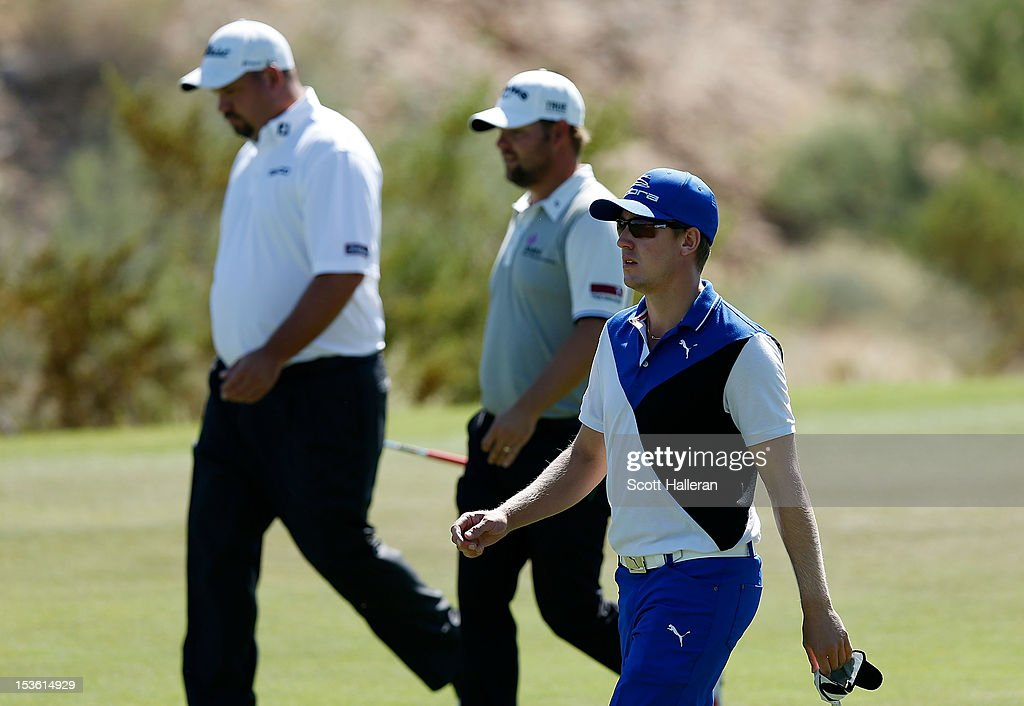 Jonas Blixt of Sweden, Ryan Moore and <a gi-track='captionPersonalityLinkClicked' href=/galleries/search?phrase=Brendon+de+Jonge&family=editorial&specificpeople=4444710 ng-click='$event.stopPropagation()'>Brendon de Jonge</a> walk to the eighth green during the third round of the Justin Timberlake Shriners Hospitals for Children Open at TPC Summerlin on October 6, 2012 in Las Vegas, Nevada.