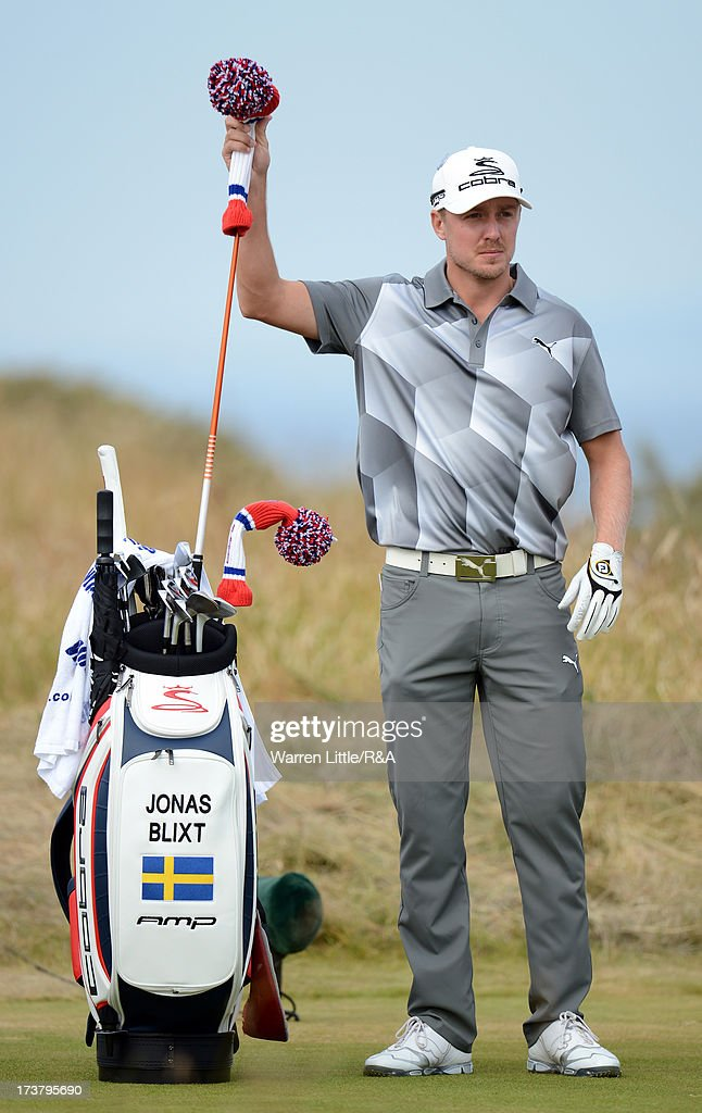 Jonas Blixt of Sweden tees pulls a club on the 5th hole during the first round of the 142nd Open Championship at Muirfield on July 18, 2013 in Gullane, Scotland.