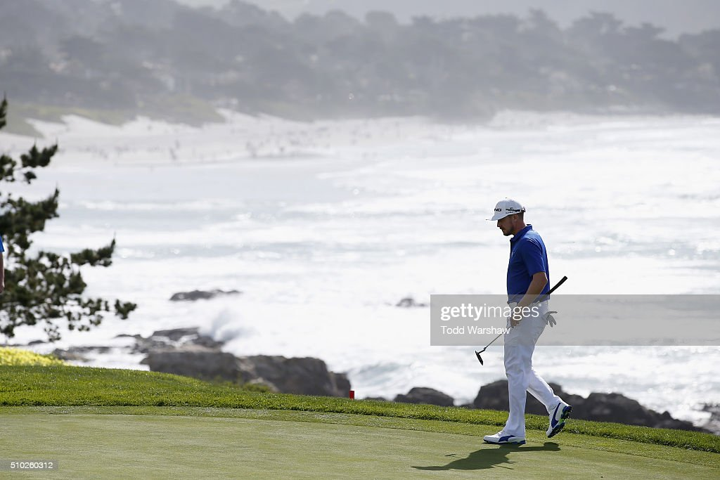 <a gi-track='captionPersonalityLinkClicked' href=/galleries/search?phrase=Jonas+Blixt&family=editorial&specificpeople=4387884 ng-click='$event.stopPropagation()'>Jonas Blixt</a> of Sweden walks on the eighth green during the final round of the AT&T Pebble Beach National Pro-Am at the Pebble Beach Golf Links on February 14, 2016 in Pebble Beach, California.