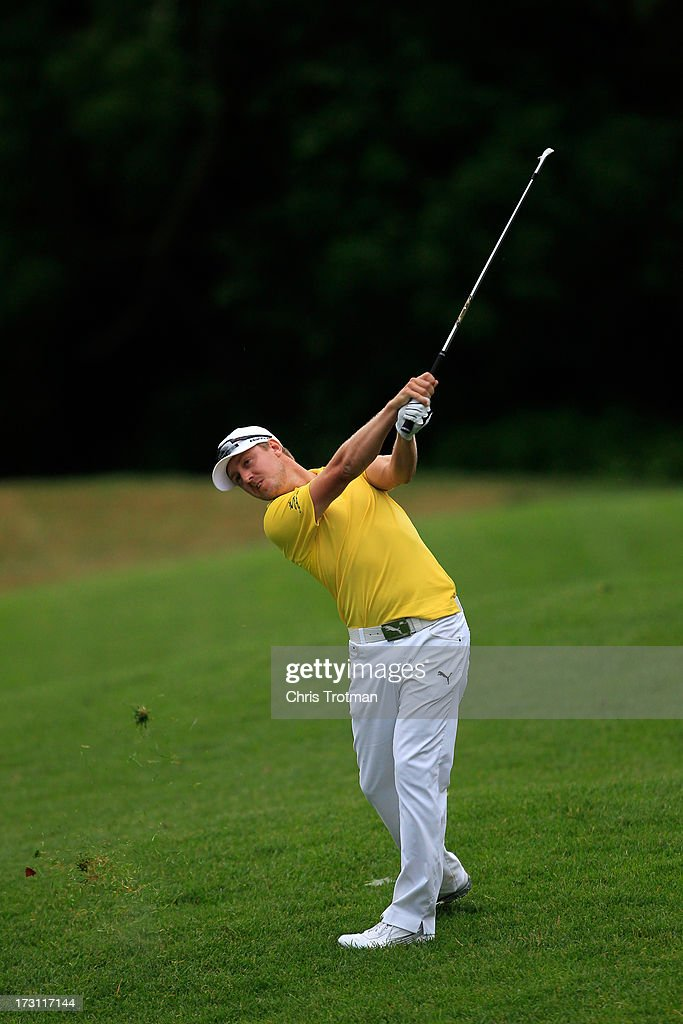 Jonas Blixt of Sweden watches his second shot on the 16th hole during the final round of the Greenbrier Classic at the Old White TPC on July 7, 2013 in White Sulphur Springs, West Virginia.