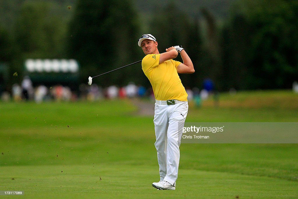 Jonas Blixt of Sweden watches his second shot on the 17th hole during the final round of the Greenbrier Classic at the Old White TPC on July 7, 2013 in White Sulphur Springs, West Virginia.