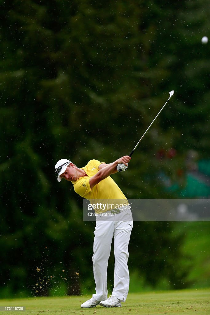Jonas Blixt of Sweden watches his tee shot on the third hole during the final round of the Greenbrier Classic at the Old White TPC on July 7, 2013 in White Sulphur Springs, West Virginia.
