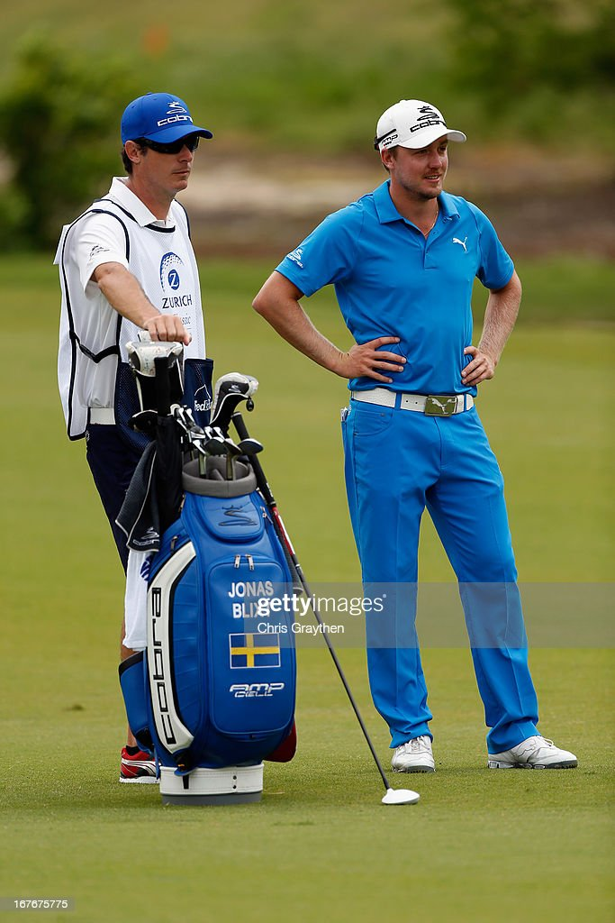 Jonas Blixt waits to hit his second shot on the second hole during the third round of the Zurich Classic of New Orleans at TPC Louisiana on April 27, 2013 in Avondale, Louisiana.
