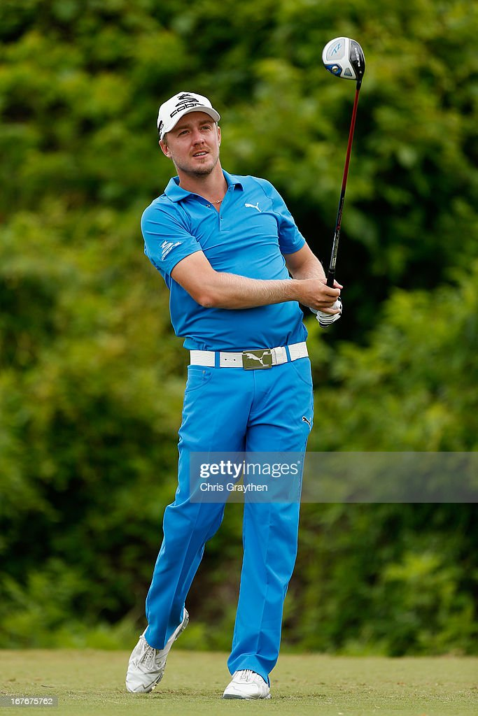 Jonas Blixt walks off the second tee box during the third round of the Zurich Classic of New Orleans at TPC Louisiana on April 27, 2013 in Avondale, Louisiana.