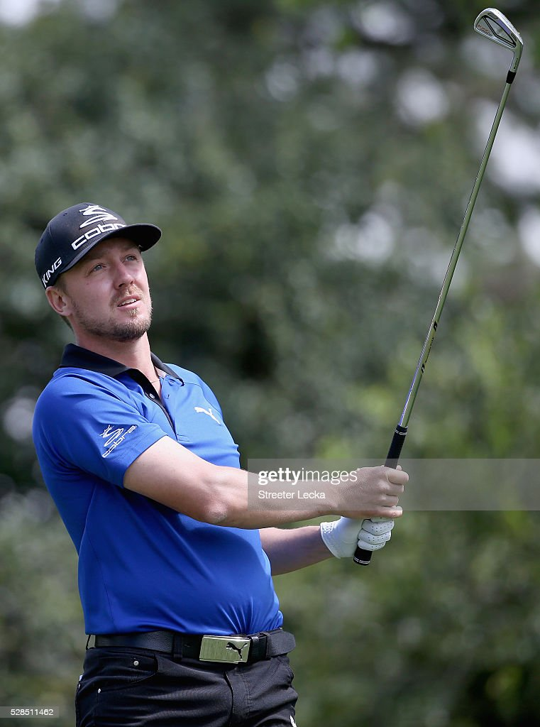 Jonas Blixt watches a tee shot on the sixth hole during the first round of the 2016 Wells Fargo Championship at Quail Hollow Club on May 5, 2016 in Charlotte, North Carolina.