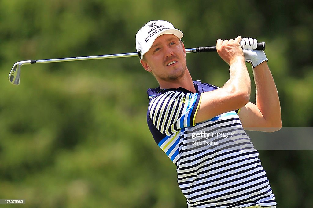 Jonas Blixt watches his tee shot on the third hole during round three of the Greenbrier Classic at the Old White TPC on July 6, 2013 in White Sulphur Springs, West Virginia.
