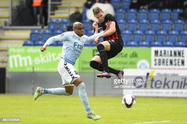Jonas Borring of FC Midtjylland and Ramon Rodrigues of Sonderjyske compete for the ball during the Danish Alka Superliga match between SonderjyskE...