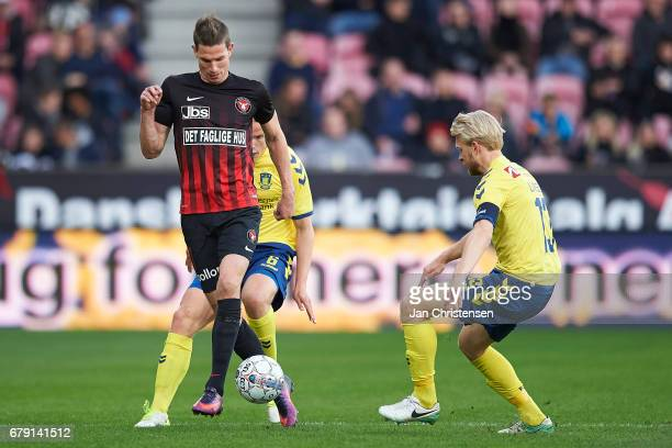 Jonas Borring of FC Midtjylland compete for the ball during the Danish Cup DBU Pokalen semifinal match between FC Midtjylland and Brondby IF at MCH...