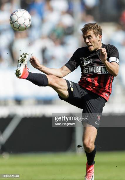 Jonas Borring of FC Midtjylland controls the ball during the Danish Alka Superliga match between FC Midtjylland and Sonderjyske at MCH Arena on April...