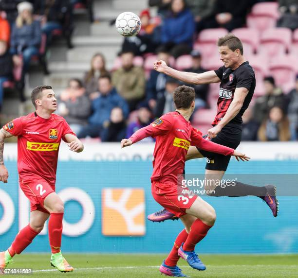 Jonas Borring of FC Midtjylland controls the ball during the Danish Alka Superliga match between FC Midtjylland and FC Nordsjalland at MCH Arena on...