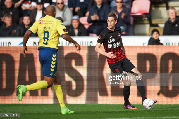 Jonas Borring of FC Midtjylland controls the ball during the Danish Cup DBU Pokalen semifinal match between FC Midtjylland and Brondby IF at MCH...