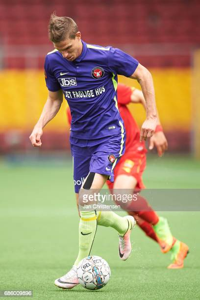 Jonas Borring of FC Midtjylland controls the ball during the Danish Alka Superliga match between FC Nordsjalland and FC Midtjylland at Right to Dream...