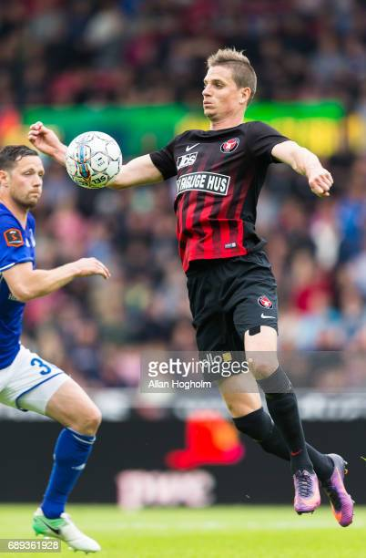 Jonas Borring of FC Midtjylland controls the ball during the Danish Alka Superliga match between FC Midtjylland and Lyngby BK at MCH Arena on May 28...