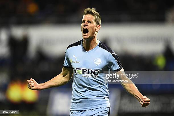Jonas Borring of Randers FC celebrate after his 11 goal during the Danish Alka Superliga match between Randers FC and OB Odense at BioNutria Park...