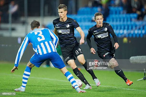 Jonas Borring of Randers FC compete for the ball during the Danish Alka Superliga match between Esbjerg fB and Randers FC at Blue Water Arena on...