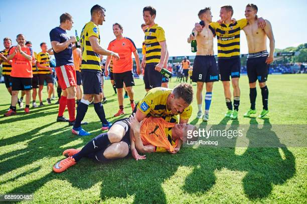 Jonas BrixDamborg and Rune Hastrup of Hobro IK celebrate winning the match and the NordicBet LIGA with promotion to the Alka Superliga after the...
