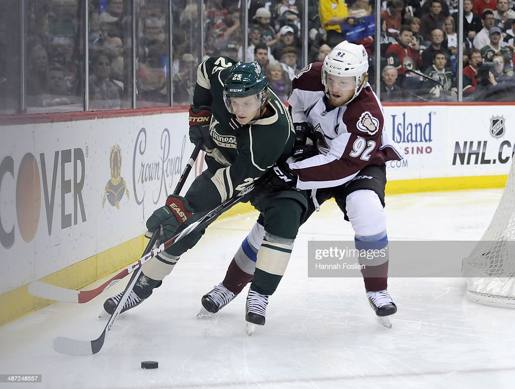 <a gi-track='captionPersonalityLinkClicked' href=/galleries/search?phrase=Jonas+Brodin&family=editorial&specificpeople=7832272 ng-click='$event.stopPropagation()'>Jonas Brodin</a> #25 of the Minnesota Wild and <a gi-track='captionPersonalityLinkClicked' href=/galleries/search?phrase=Gabriel+Landeskog&family=editorial&specificpeople=6590816 ng-click='$event.stopPropagation()'>Gabriel Landeskog</a> #92 of the Colorado Avalanche skate after the puck during the first period in Game Six of the First Round of the 2014 NHL Stanley Cup Playoffs on April 28, 2014 at Xcel Energy Center in St Paul, Minnesota. The Wild defeated the Avalanche 5-2.