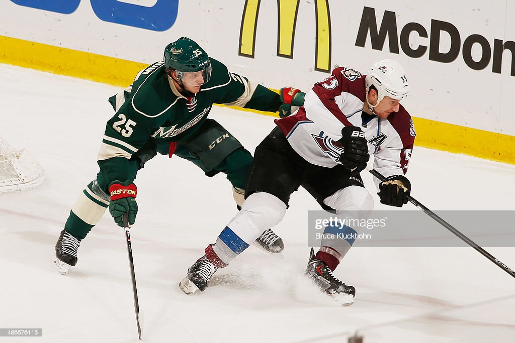 Jonas Brodin #25 of the Minnesota Wild defends Cody McLeod #55 of the Colorado Avalanche during Game Four of the First Round of the 2014 Stanley Cup Playoffs on April 24, 2014 at the Xcel Energy Center in St. Paul, Minnesota.