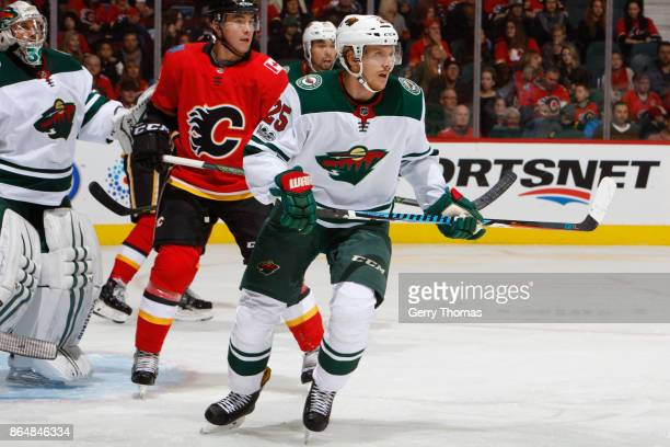 Jonas Brodin of the Minnesota Wild in an NHL game against the Calgary Flames at the Scotiabank Saddledome on October 21 2017 in Calgary Alberta Canada
