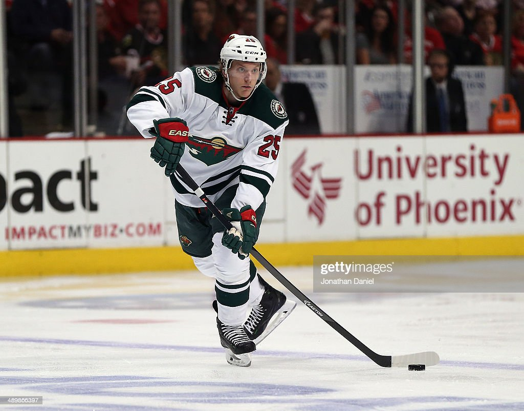 <a gi-track='captionPersonalityLinkClicked' href=/galleries/search?phrase=Jonas+Brodin&family=editorial&specificpeople=7832272 ng-click='$event.stopPropagation()'>Jonas Brodin</a> #25 of the Minnesota Wild passes against the Chicago Blackhawks in Game Five of the Second Round of the 2014 NHL Stanley Cup Playoffs at the United Center on May 11, 2014 in Chicago, Illinois. The Blackhawks defeated the Wild 2-1.