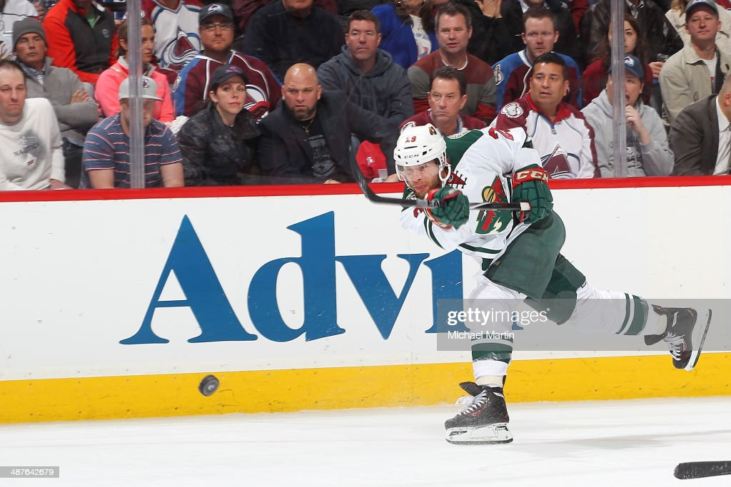 Jonas Brodin #25 of the Minnesota Wild shoots against the Colorado Avalanche in Game Seven of the First Round of the 2014 Stanley Cup Playoffs at the Pepsi Center on April 30, 2014 in Denver, Colorado. The Wild defeated the Avalanche in overtime 5-4.