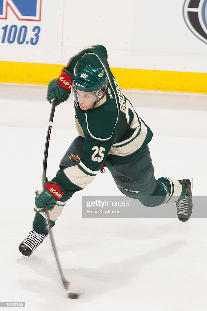 Jonas Brodin #25 of the Minnesota Wild shoots the puck against the Colorado Avalanche during Game Three of the First Round of the 2014 Stanley Cup Playoffs on April 21, 2014 at the Xcel Energy Center in St. Paul, Minnesota.