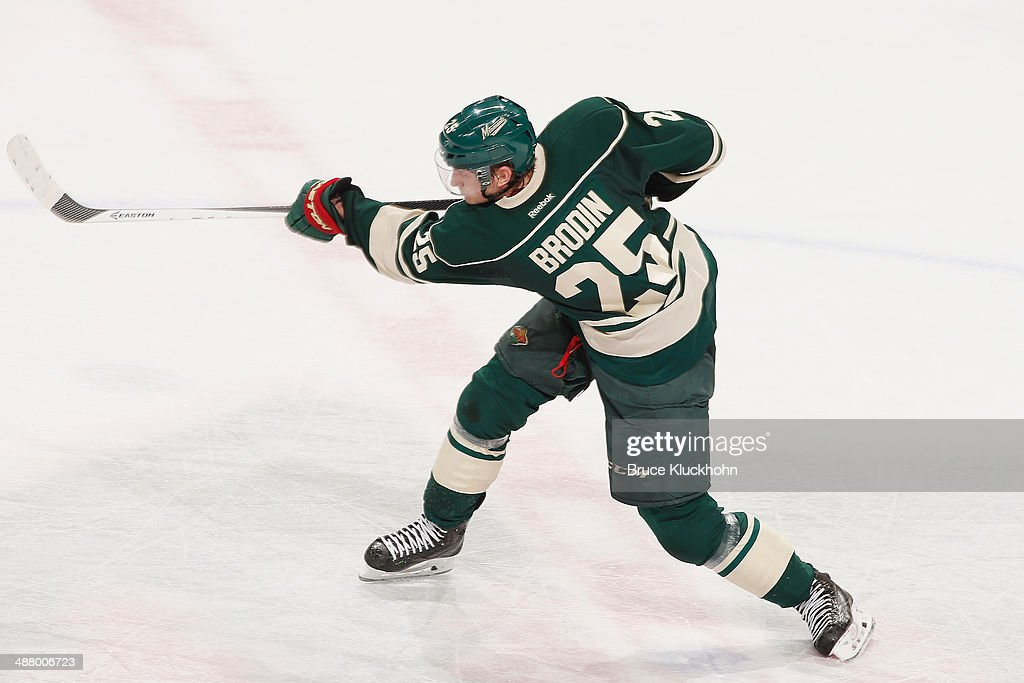 Jonas Brodin #25 of the Minnesota Wild shoots the puck against the Colorado Avalanche during Game Six of the First Round of the 2014 Stanley Cup Playoffs on April 28, 2014 at the Xcel Energy Center in St. Paul, Minnesota.