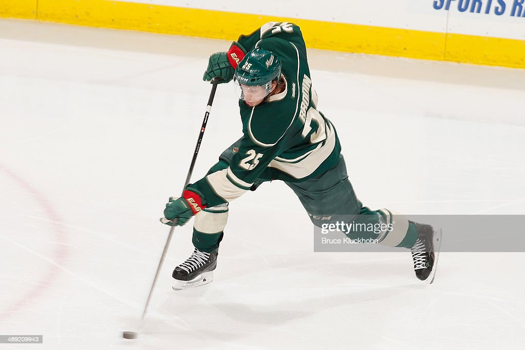 Jonas Brodin #25 of the Minnesota Wild shoots the puck against the Chicago Blackhawks during Game Three of the Second Round of the 2014 Stanley Cup Playoffs on May 6, 2014 at the Xcel Energy Center in St. Paul, Minnesota.