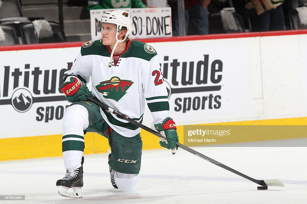 Jonas Brodin #25 of the Minnesota Wild skates prior to the game against the Colorado Avalanche in Game Seven of the First Round of the 2014 Stanley Cup Playoffs at the Pepsi Center on April 30, 2014 in Denver, Colorado. The Wild defeated the Avalanche in overtime 5-4.