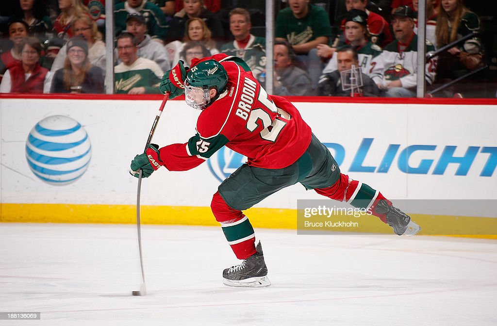 <a gi-track='captionPersonalityLinkClicked' href=/galleries/search?phrase=Jonas+Brodin&family=editorial&specificpeople=7832272 ng-click='$event.stopPropagation()'>Jonas Brodin</a> #25 of the Minnesota Wild takes a shot against the Florida Panthers during the game on November 15, 2013 at the Xcel Energy Center in St. Paul, Minnesota.