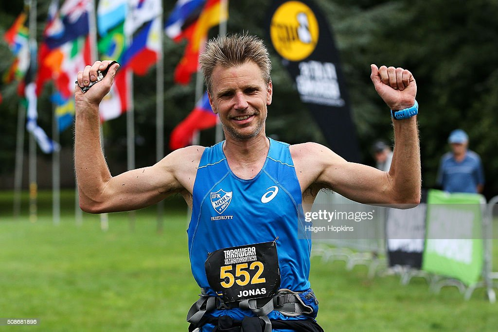 Jonas Buud of Sweden celebrates after winning the Tarawera Ultramarathon on February 6, 2016 in Rotorua, New Zealand.