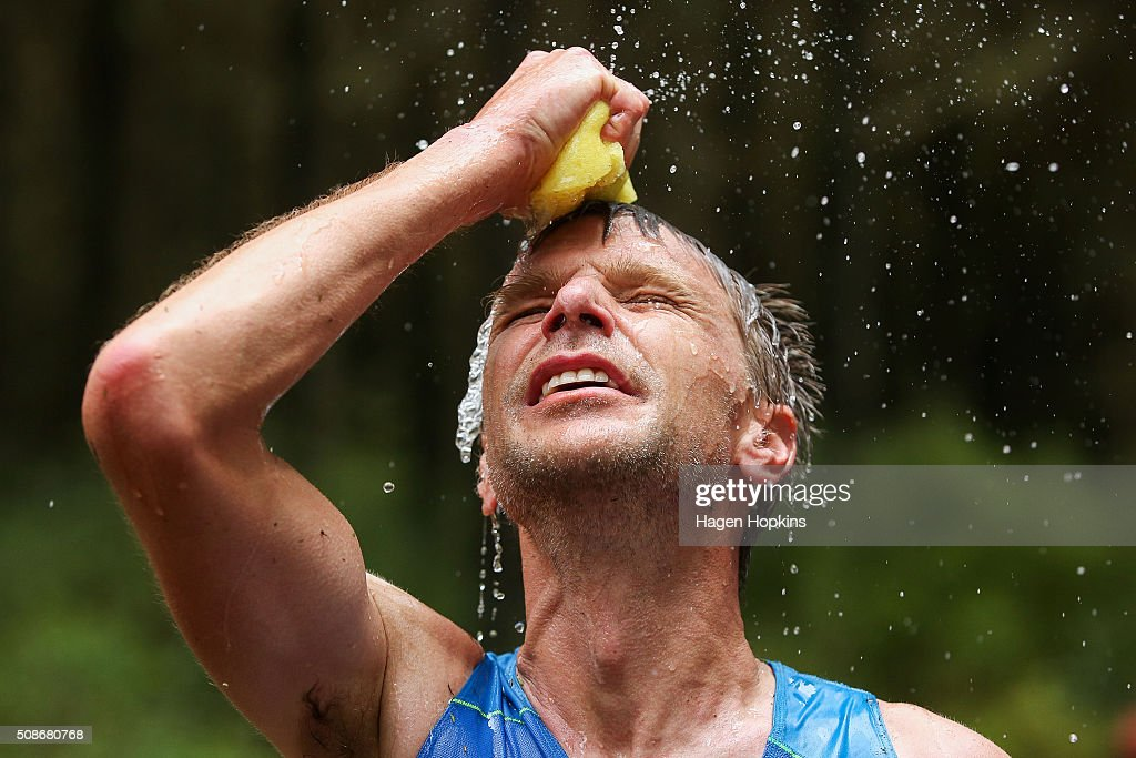 Jonas Buud of Sweden cools off during the Tarawera Ultramarathon on February 6, 2016 in Rotorua, New Zealand.