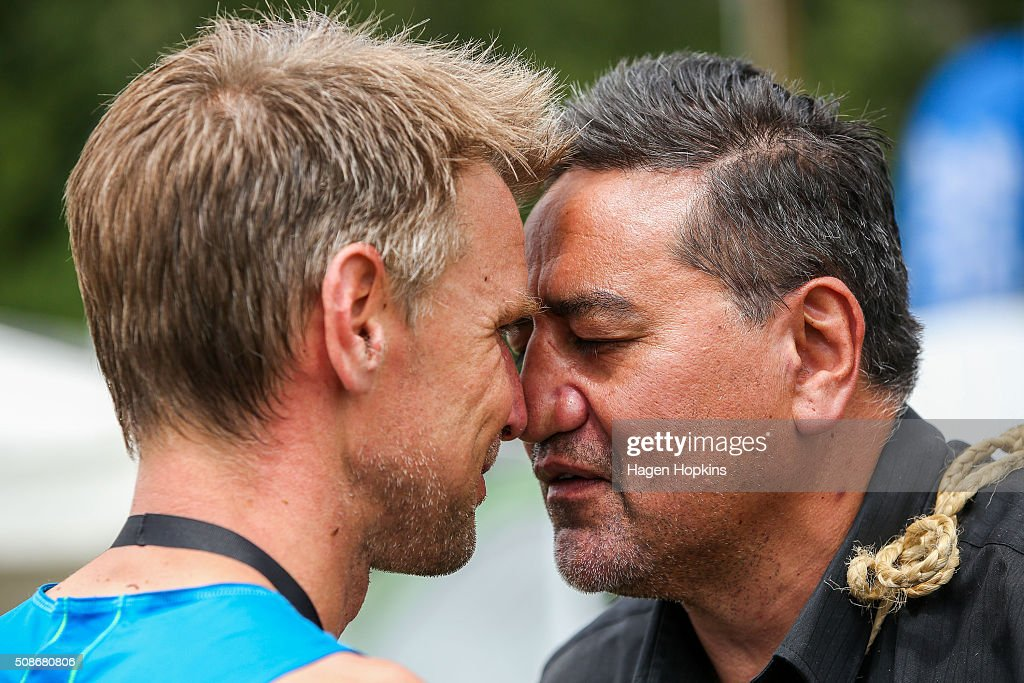 Jonas Buud of Sweden receives a hongi after winning the Tarawera Ultramarathon on February 6, 2016 in Rotorua, New Zealand.