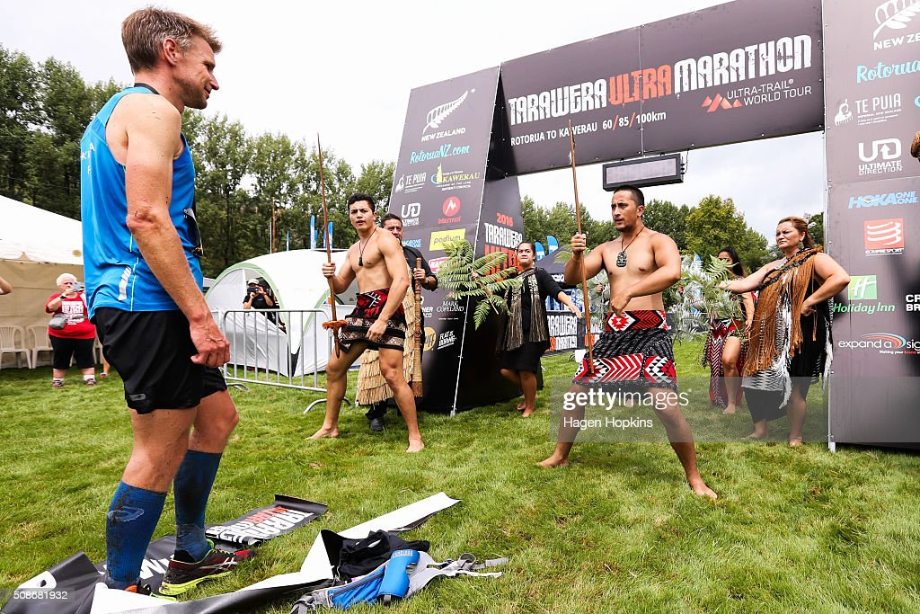 Jonas Buud of Sweden watches a haka after winning the Tarawera Ultramarathon on February 6, 2016 in Rotorua, New Zealand.