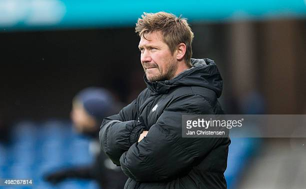 Jonas Dal Andersen head coach of Esbjerg fB looks on during the Danish Alka Superliga match between Esbjerg fB and Hobo IK at Blue Water Arena on...