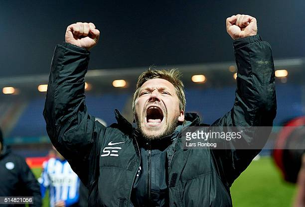 Jonas Dal head coach of Esbjerg fB celebrates after the Danish Alka Superliga match between Esbjerg and AGF Aarhus at Blue Water Arena on March 11...
