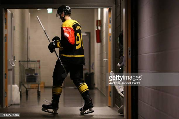 Jonas Djupvik of Stavanger Oilers before the Champions Hockey League match between Stavanger Oilers and KalPa Kuopio at the DNB Arena on October 11...