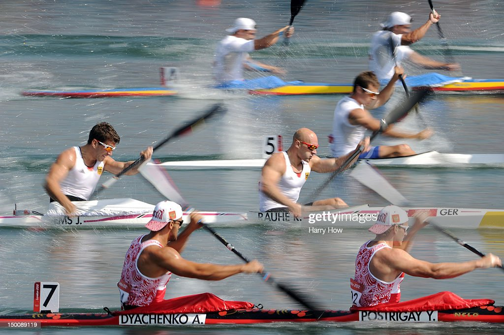 Jonas Ems and Ronald Rauhe of Germany compete in the Men's Kayak Double 200m Canoe Sprint heats on Day 14 of the London 2012 Olympic Games at Eton...