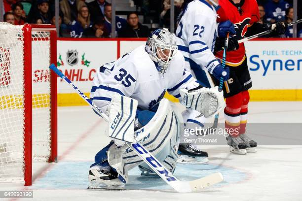 Jonas Enroth of the Toronto Maple Leafs skates against the Calgary Flames during an NHL game on November 30 2016 at the Scotiabank Saddledome in...