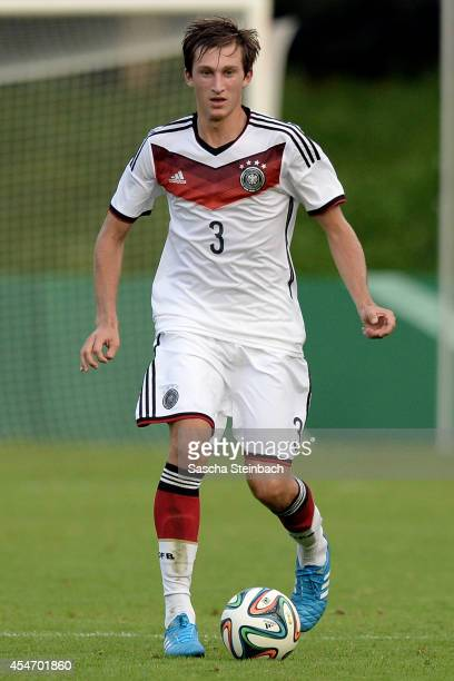 Jonas Foehrenbach of Germany runs with the ball during the international friendly match between U19 Germany and U19 Netherlands at Sportpark...