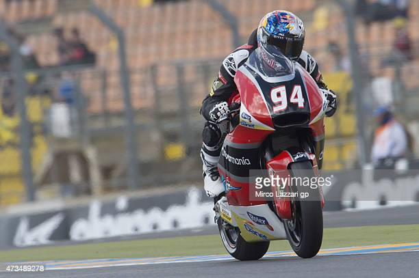 Jonas Folger of Germany and Arginano Gines Racing heads down a straight during the MotoGp of France Free Practice at on May 15 2015 in Le Mans France